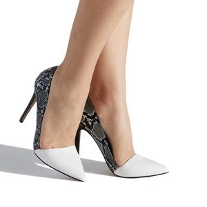 Two tone snakeskin and ivory high heels